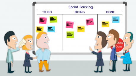 Scrum in sales team voor een kanban bord